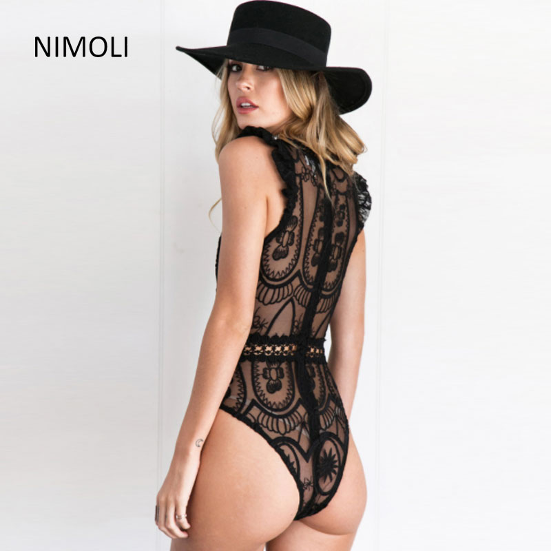 Nimoli 2018 Summer Sexy Lace Trimming Ruffles Perspective Bodysuit Tops Womens Partying Nightclubs Super Short Hotsuit Bodysuit