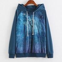 Przestrzeń Drzewo Pritned Kobiety Bluzy Bluzy Marki Mody Kobiet Swetry Pani Dresy Jakości Znosić Jesienny Płaszcz