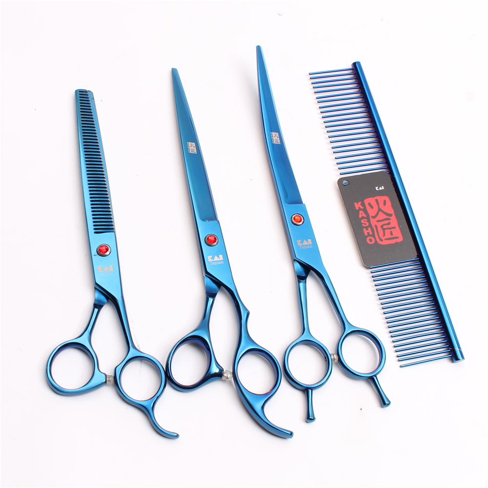 H3005 4Pcs 8 22cm Kasho Stainless Blue Hairdresser For Dogs Pets Hair Clippers Grooming-for-dog Professional Pets Hair Scissors цена
