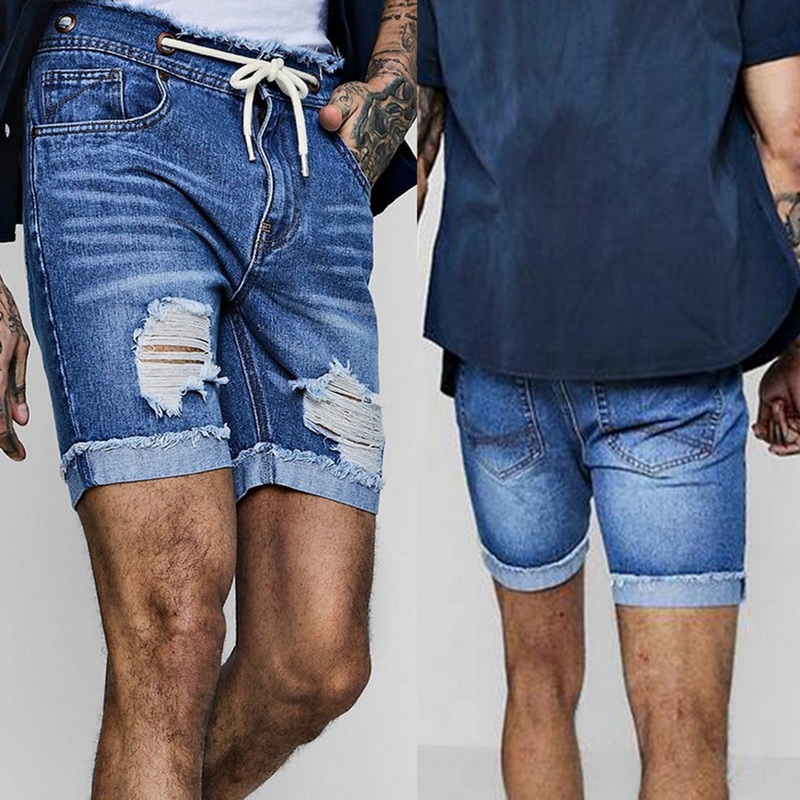 Shujin 2019 New Shors Mens Sexy Ripped Short Jeans Men Brand Clothing Fashion Hole Destroyed Leisure Summer Denim Shorts