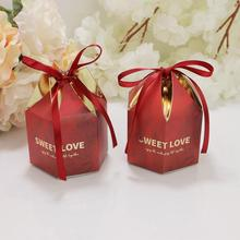 30pcs/lot New Polygonal Paper Folding Ribbon Box Valentines Day Wedding Gift Packaging Candy