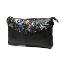 цены Rose Embossed Women Hand Clutch Bag Genuine Leather Envelope Crossbody Shoulder Evening Bag Wristlet Clutches Zipper Hand Bag