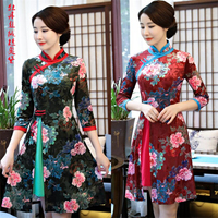 2019 Vintage vietnam ao dai cheongsam dress Women chinese style dress for lady qipao clothes floral printed plus M 4XL