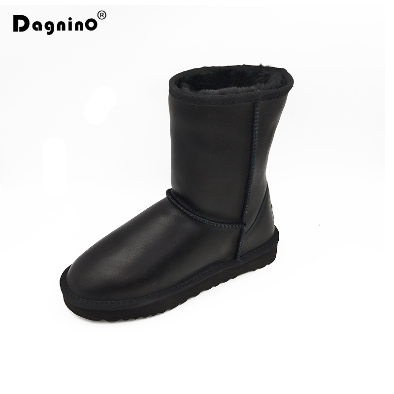 DAGNINO Brand Australia Classic Waterproof Unisex Snow Boots Genuine Leather Women Warm Plush Leopard Winter Shoes Zapatos Mujer