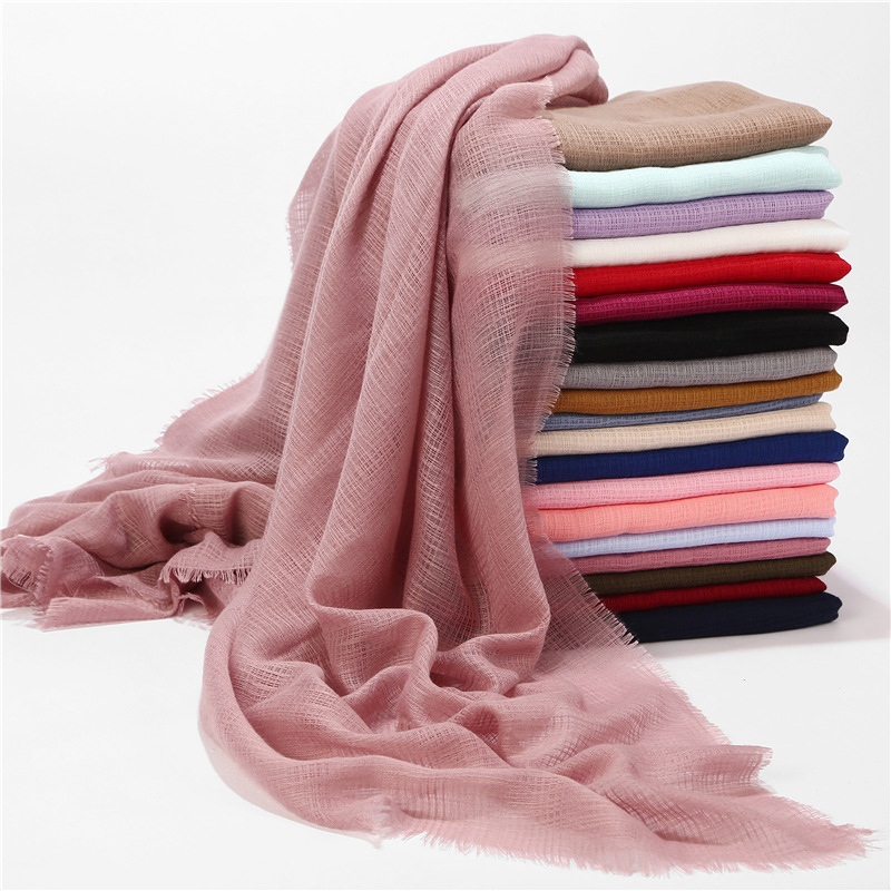 MANYUE-CO Linen Solid Cotton Hijab Women Scarf Pure Color Muslim Hijab Scarves Shawls And Wraps Fashion Female Plain Head Scarf(China)