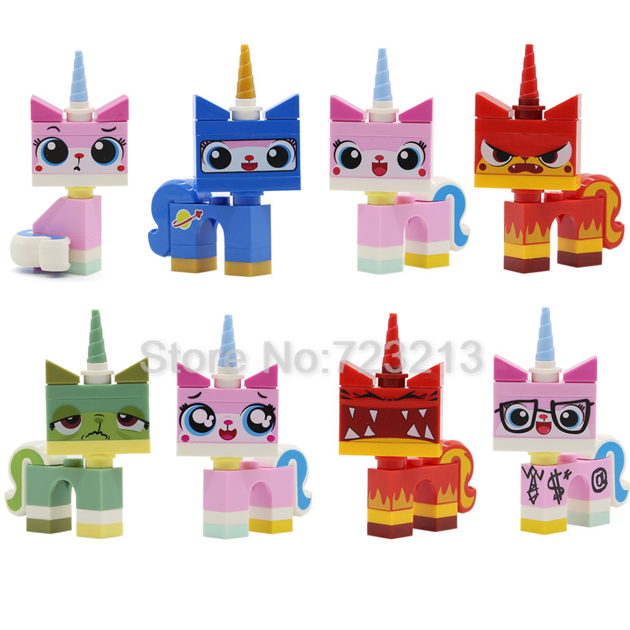 8pcs/lot Cartoon Cute Unikitty Cat Figure Set Queasy Biznis Angry Kitty Astro Kitty Building Blocks Models Bricks Toys
