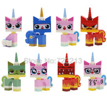 8pcs/lot Cartoon Cute Unikitty Cat Figure Set Queasy Biznis Angry Kitty Astro Kitty Building Blocks Models Bricks Legoingly Toys(China)