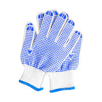 12 Pairs High Quality Labour Protection Antiskid Wear Resisting Glove Blue Plastic Dot Yarn Gloves Light