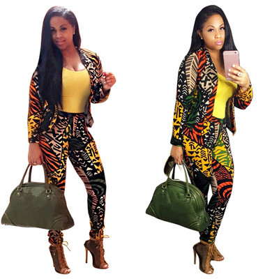 2016 Autumn Printing Two Pieces Slim Blazer Set Ladies Office Wear Suit Women Business Suits Formal Office Suits Work With Pants