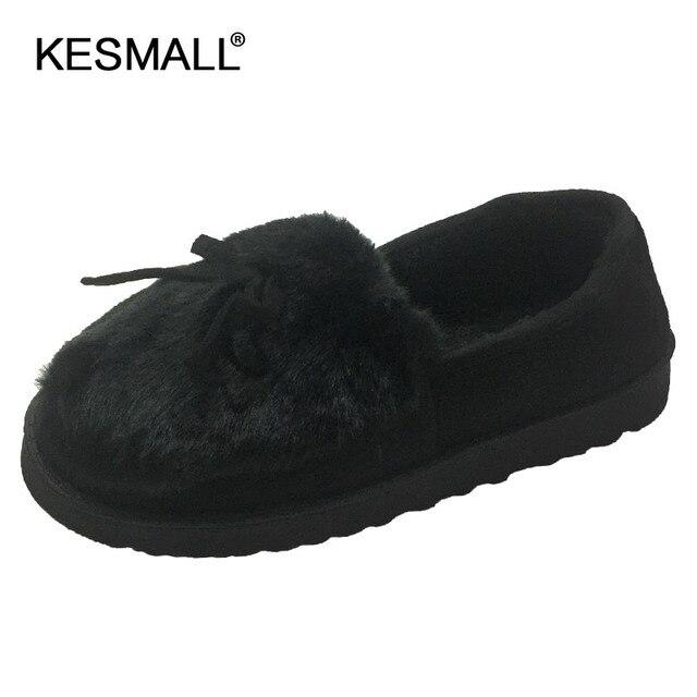 2019 Mulheres Inverno Quente Chinelos Sapatos Bowtie Pelúcia Dentro Loaferes Senhoras Chinelos Home Indoor Pantuflas Senhoras Deslizamento Em Sapatas