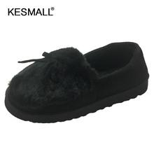 2019 ciepłe kapcie kobiety zimowe buty Bowtie pluszowe wewnątrz Loaferes damskie pantofle domowe Pantuflas damskie wsuwane buty buty tanie tanio KESMALL Flock Mieszkanie (≤1cm) Pasuje mniejszy niż zwykle proszę sprawdzić ten sklep jest dobór informacji 0-3 cm