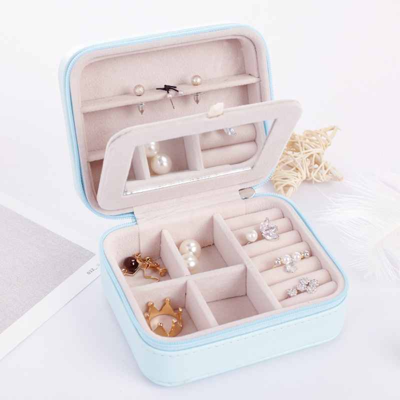 New Arrival Women's Mini Stud Earrings Ring Jewelry Box Useful Makeup Organizer With Zipper Travel Portable Jewelry Storage Case