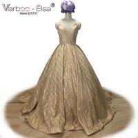 VARBOO ELSA Luxuary Gold Sequined Evening Dress 2018 Custom Long Prom Dress Amazing Sexy Deep V
