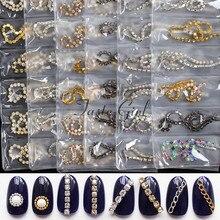 6 grade/Pack Nail Art De Metal Jóia Garra Cadeia Osso Cobra Lines Punk 3D Deslizante liga Decorações de Unhas Manicure acessórios DIY
