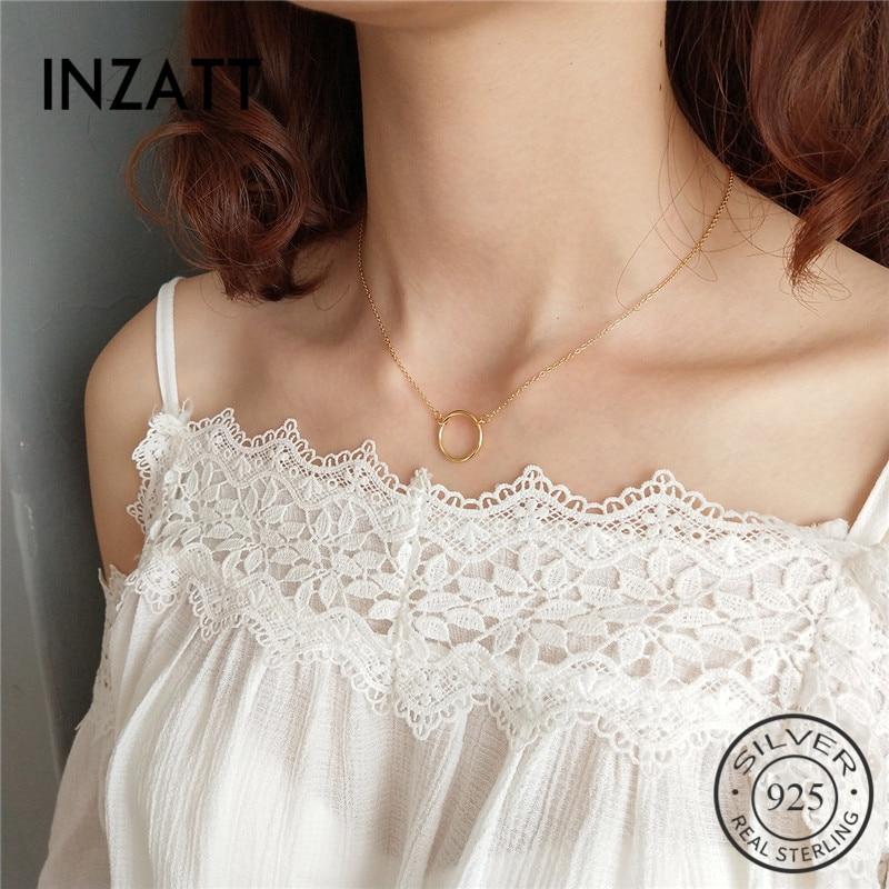 INZATT Punk 925 Sterling Silver Geometric Round Pendant Necklace Gold Color Fashion Jewelry For Women Minimalist Accessories