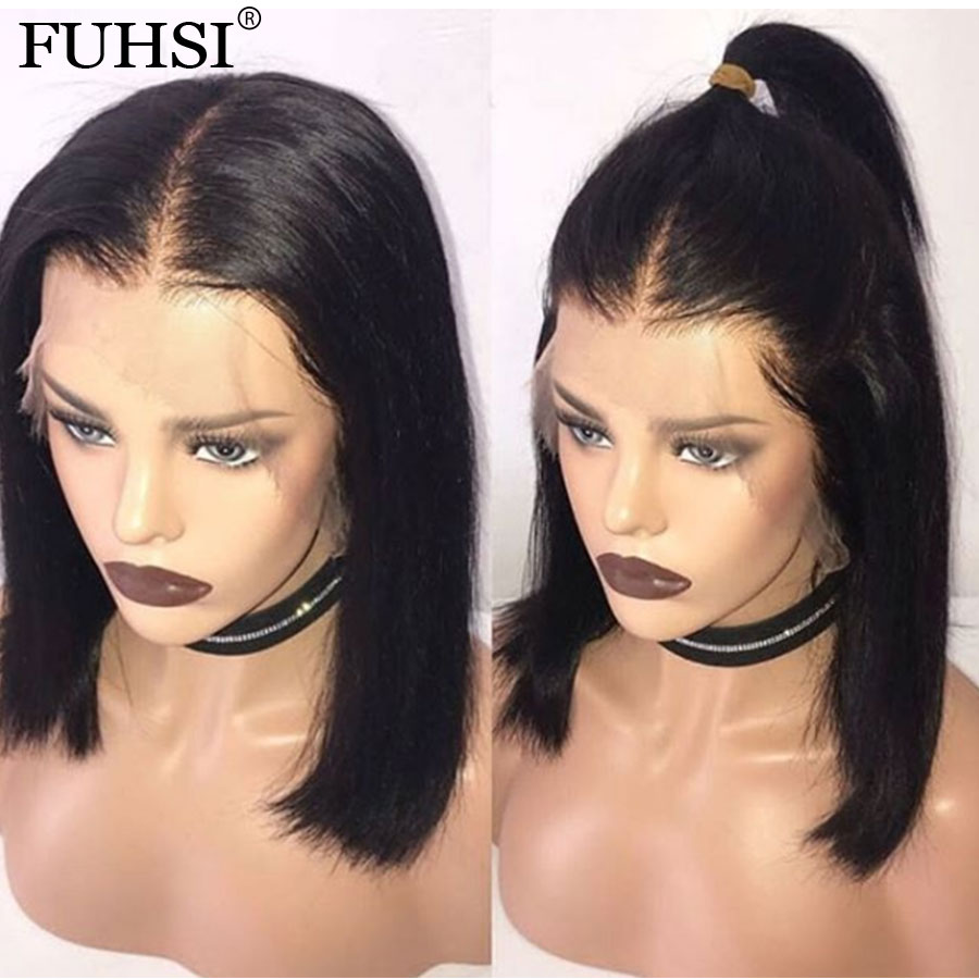 Short Lace Front Human Hair Wigs For Black Women Straight Bob Wig With Baby Hair Pre