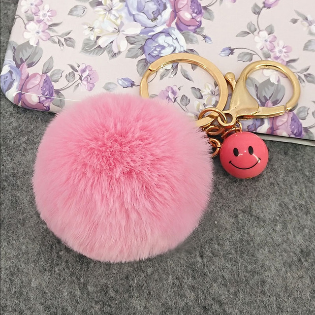 Pompom Keychains Cute Puffy Ball Women s Bags Key Ring Handmade Accessories Smile  Keyrings Pendants Charming Handbags Decoration 2fa648758