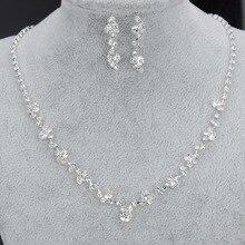 Simple Brdeismaid Bridal Jewelry Set Sil