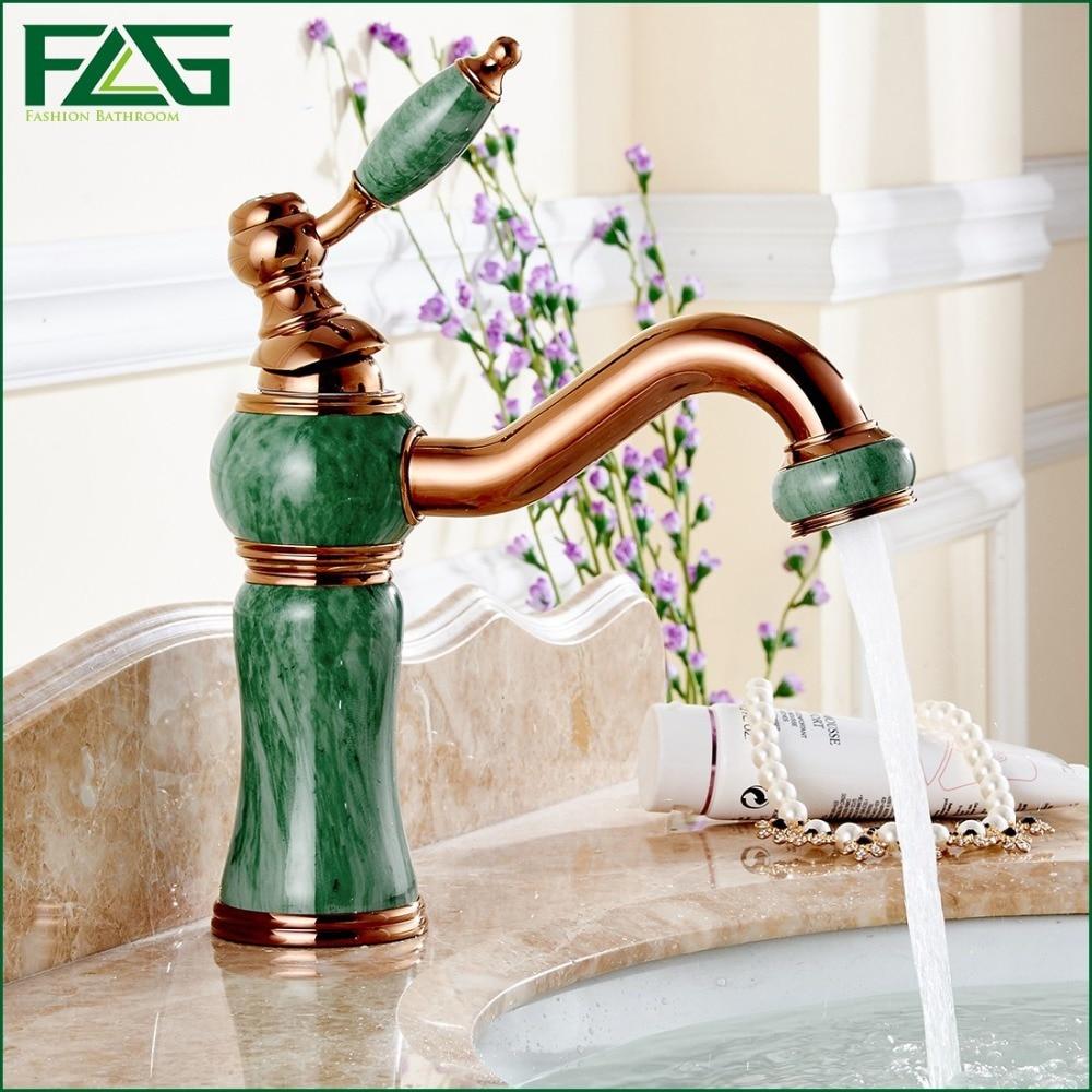 European Aristocratic Bath Mat Green Jade Painting Rose Golden Plated Wash Basin Vintage Deck Mounted Brass Tap Garden FLG100025