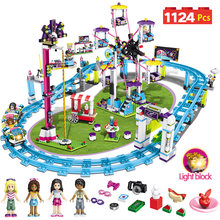 Bricks Compatible with LegoINGLY Blocks Friends Amusement Park Roller Coaster Figure Model