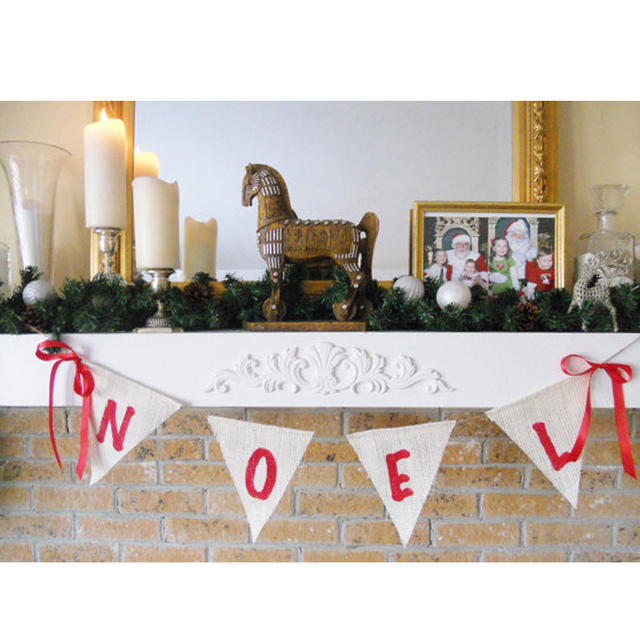 2015 felt home party garland merry christmas tassel burlap sale festive holiday decorating all natural banner - Burlap Christmas Decorations For Sale