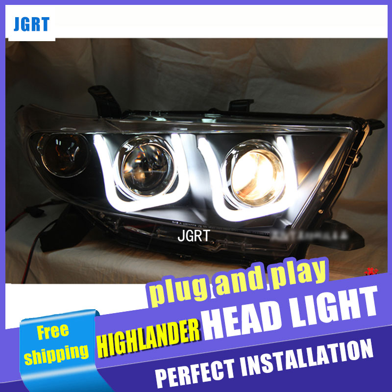 Car Styling for Toyota Highlander Headlights Angel Eye LED DRL Lens Double Beam H7 HID Xenon bi xenon lens hireno headlamp for 2011 2015 toyota fortuner headlight assembly led drl angel lens double beam hid xenon 2pcs