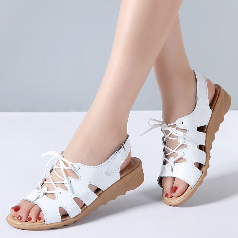 d2654a74dee 2019 Women Gladiator Sandals Shoes Genuine Leather Lace Up Flat Heels  Sandals Ladies Casual Summer Shoes Women Beach Sandals - aliexpress.com -  imall.com