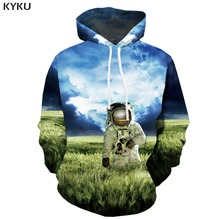 KYKU 3d Hoodies Astronaut Hoodie Men Space Galaxy Hooded Casual Nebula Printed Harajuku Print Weed Sweatshirt