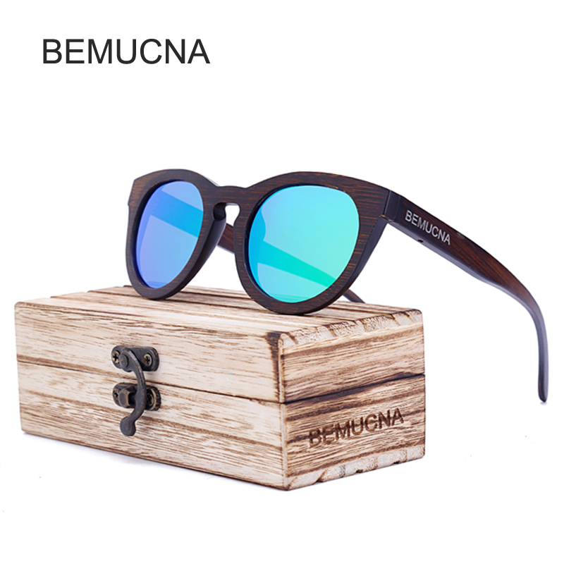 2017 font b New b font BEMUCNA Women Wooden Sunglasses Brand Designer Original Wood Polarized Sun
