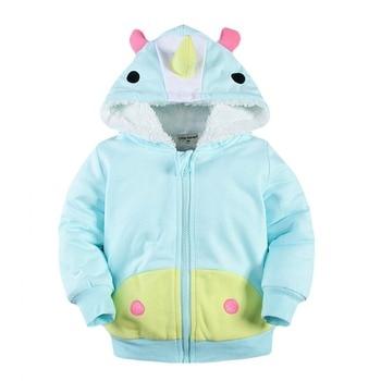 2-7T Kids Animal Hoodie Winter 3D Shape Cosplay Hoodie Children Thick Cotton Velvet Thermal Hooded Sweatshirt Zip Up Hoodie Kids