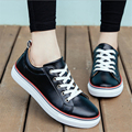 Women casual shoes 2016 spring new pu leather simple flat shoes autumn comfortable breathable student shoes
