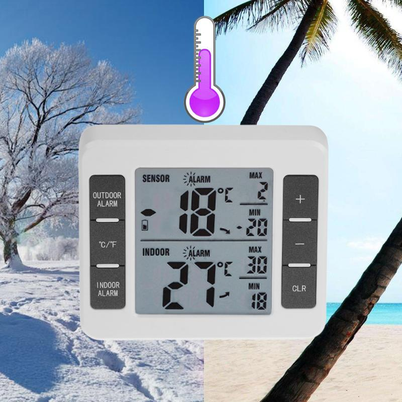 Household Indoor Outdoor Wireless Weather Station LCD Display Digital Thermometer Temperature Meter With Alarm Clock купить в Москве 2019