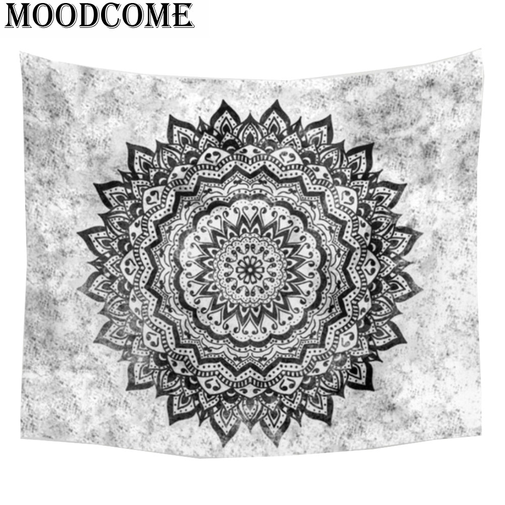 black and white decorative wall tapestries indian polyester tapestry wall hanging mandala drap mural bohemian tapestry