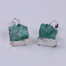 1pc Natural Crystal Druzy Pendant Silver Color Drop Gem Stone Pendants For Jewelry Making