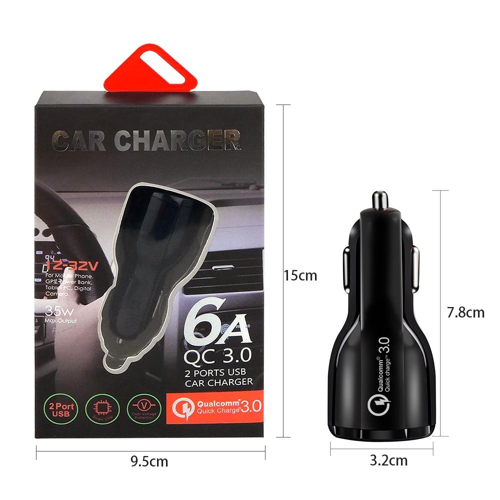 Image 2 - Новейшая уникальная форма 3,0 2,0 Быстрая зарядка USB Автомобильное зарядное устройство для мобильного телефона 2 порта 50 мин до 100% батарея для Univeral с коробкой
