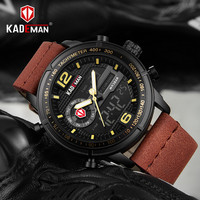 KADEMAN Luxury Dual Display Men Watch Top Brand Military Sport Waterproof Leather Male Clock New Date Digital Analog Wrist Watch
