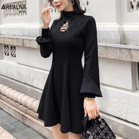 Sexy Black Hollow Out Lace Up Gothic Women Dresses New Autumn Long Sleeve Mini Dress Slim Bandage Night Club Party Dress Vestido
