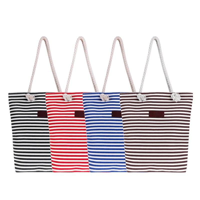 Fashion Canvas Stripe Women Zipper Handbag Ladies Strap Coffee Shopping Bag Female Casual Shoulder Bag Bolsas Feminina