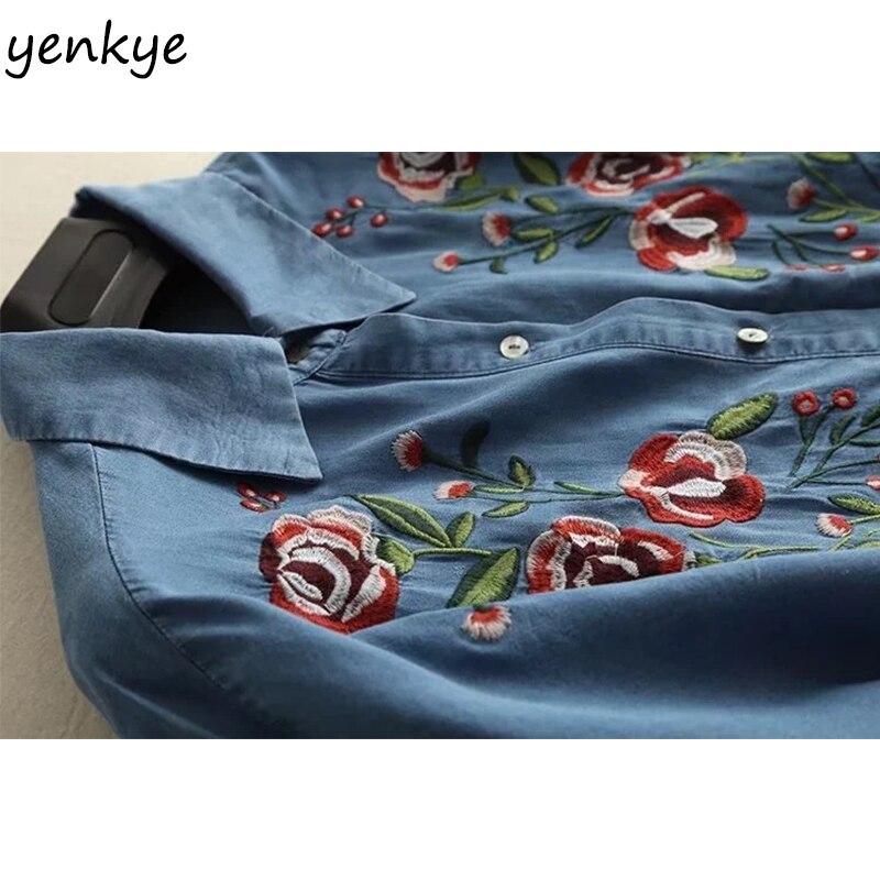 5a3e4da8b24 Spring 2018 Women Floral Embroidery Tencel Denim Dress Lady Short Sleeve  Lapel Blue Casual Dress Summer Oversized Dress -in Dresses from Women s  Clothing ...