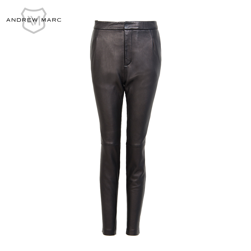 ANDREW MARC 2016 Women s Simple Leather Pants Slim Fashion Lady PU Trousers TW6A6002