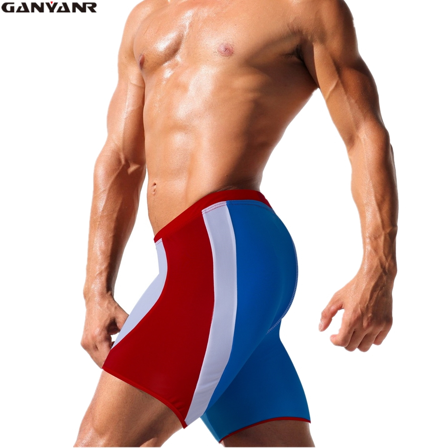 GANYANR Brand Male Swimming Trunks Men Swimwear Low Waist Gay Sunga Bikini Swimsuit Swim Shorts Pants Briefs Patchwork Beach
