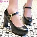 QUTAA Purple PU leather Woman Pumps Square High Heel Ladies Shoes Mary Jane Rhinestone Women Wedding Shoes Size 34-39