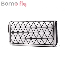 Berno fly Brand Geometry Quilted Plaid Long Zipper Wallet for Women Clutch Bag Fashion Lattice Laser Clutch Purse Black White