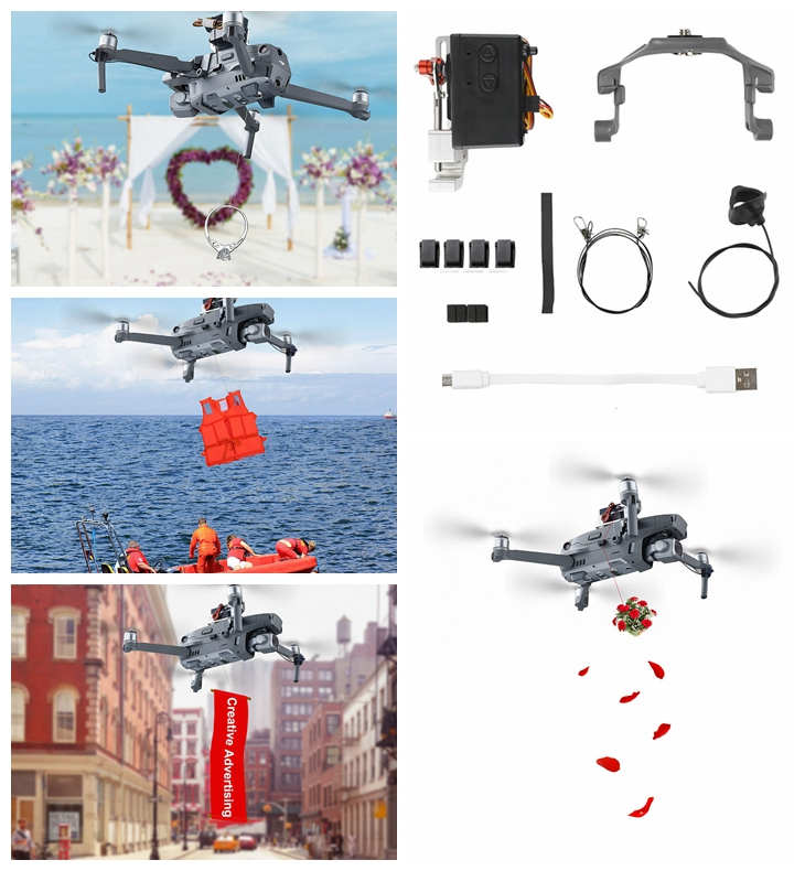 Air Dropping Thrower System DJI Mavic 2 Pro Zoom Drone Wedding Ring Gift Emergency Remotely Delivery