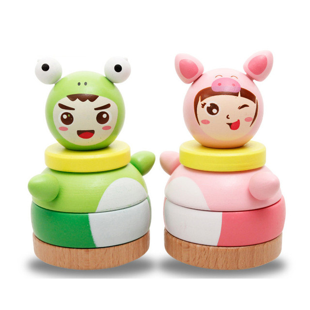 Cute Pink Pig Frog Prince Tumbler Wooden Toys Colorful Stackers Tower Kids Funny Toys Gift For Boy Girl