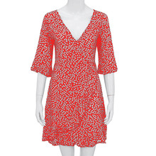 Women Dress  Floral Printed Middle Sleeve V-Neck Casual Dress Beach Ruffled Dress