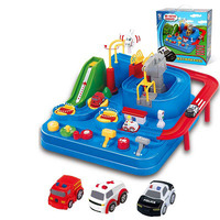 Car model Track car toys Music lighting Attached parking lot Internet Red Man Toys of the Same Kind Car adventure toys
