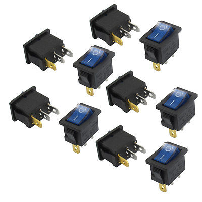 10 x AC 6A/250V 10A/125V 3 Pin SPST Blue Neon Lamp On/Off Boat Rocker Switch mylb 10pcsx ac 3a 250v 6a 125v on off i o spst 2 pin snap in round boat rocker switch