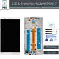 AAA LCD for Huawei Mate 7 MT7 LCD display touch screen digitizer Frame complete assembly pantalla replacement black white gold
