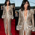 2015 Grammy Awards Kim Kardashian Celebrity Dresses Sexy V-neck Font Split Gold Sequins Long Sleeve Evening Gowns Formal Dress
